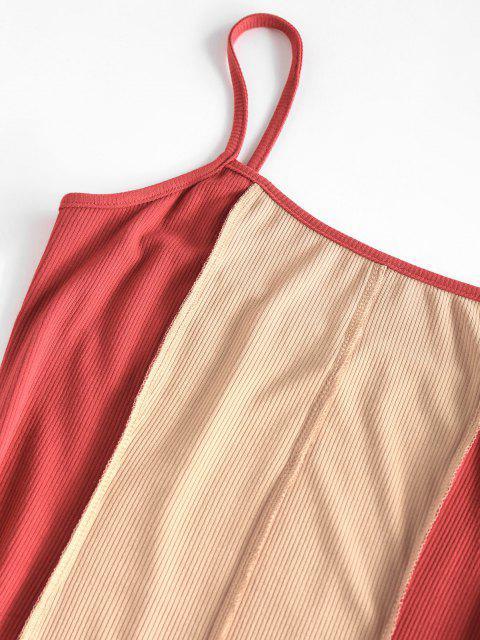 ZAFUL Geripptes Zweiteiliges Kleid mit Mesh Detail - Kaffee L Mobile
