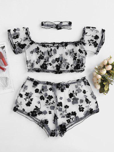 Off Shoulder Sheer Mesh Flocking Floral Lingerie Set With Choker - Black L