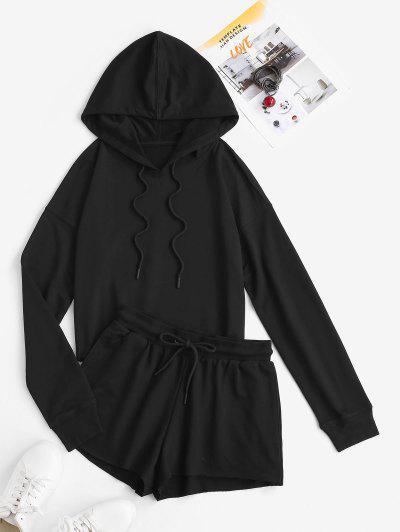 Hooded Drop Shoulder Pocket Drawstring Sports Shorts Set - Black L