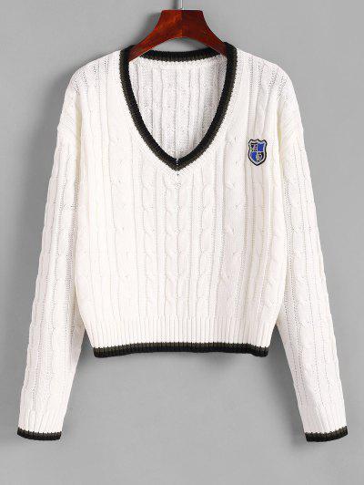 Adrette Streifen Badge Pullover Mit V Ausschnitt - Weiß M