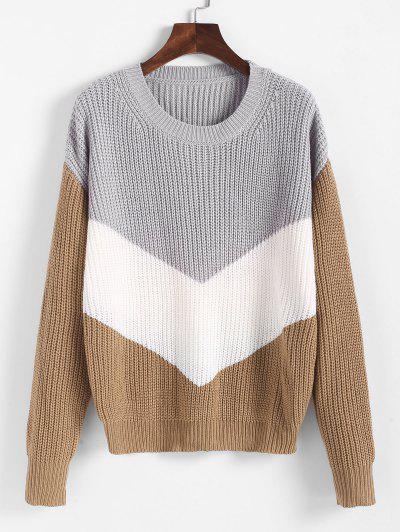 Drop Shoulder Color Blocking Sweater - Multi L