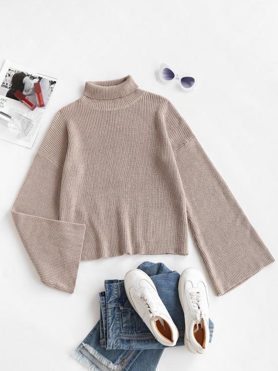 new Turtleneck Drop Shoulder Basic Sweater - LIGHT COFFEE M