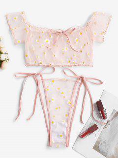 Off Shoulder Floral Sheer Mesh Tie Side Lingerie Set - Light Pink Xl