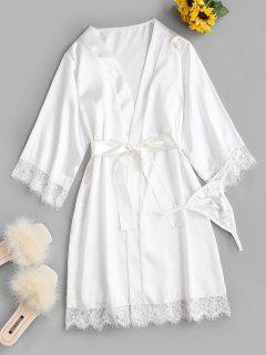 Satin Lace Insert Belted Pajama Robe - White S