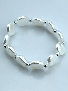 Faux Pearl Round Beads Elastic Bracelet - White