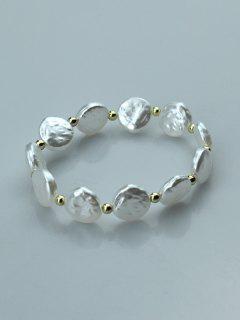 Beads Irregular Round Faux Pearl Bracelet - White
