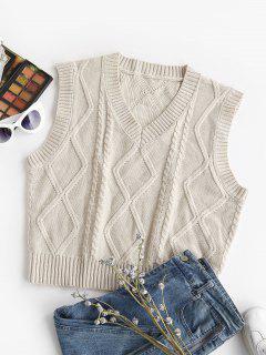 V Neck Cable Fisherman Knit Sweater Vest - Light Coffee S