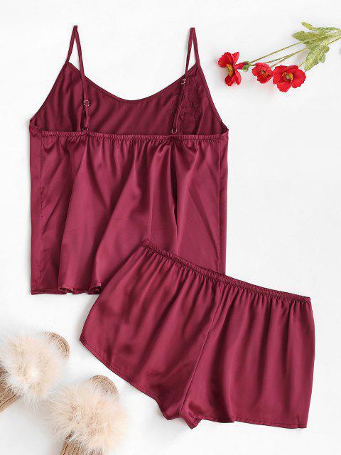 Conjunto de Pijama con Aplicación de Flores de Satén y Shorts - Color rojo oscuro Talla única Mobile