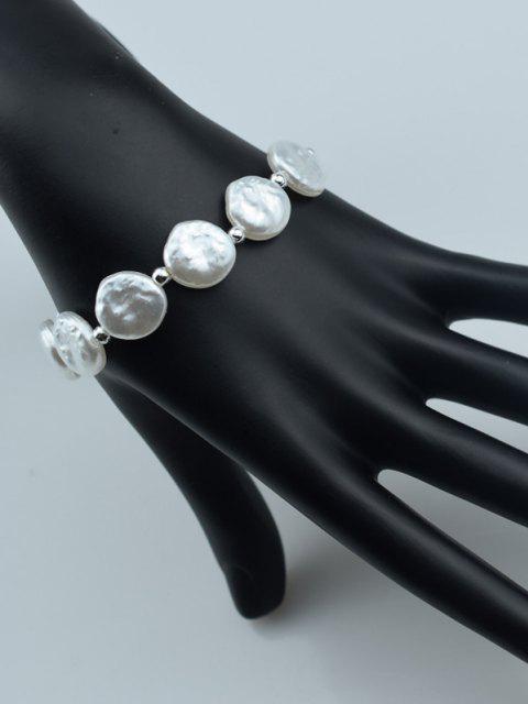 Runde Kunstperlen Elastisches Armband - Weiß  Mobile