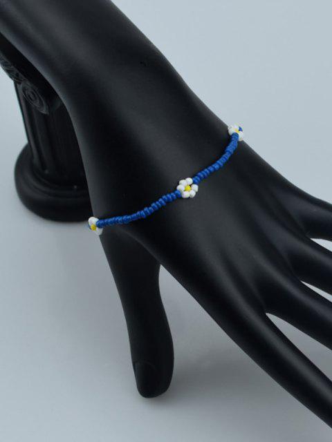 Böhmische Perlen Blume Elastisches Armband - Tiefes Blau  Mobile
