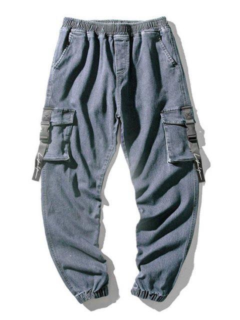 Jeans Ajustado Multi Bolsillos - Azul L Mobile