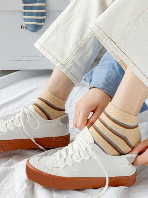 6 Paar Farbblock Karierte Knöchel Socken Set - Multi-H  Mobile
