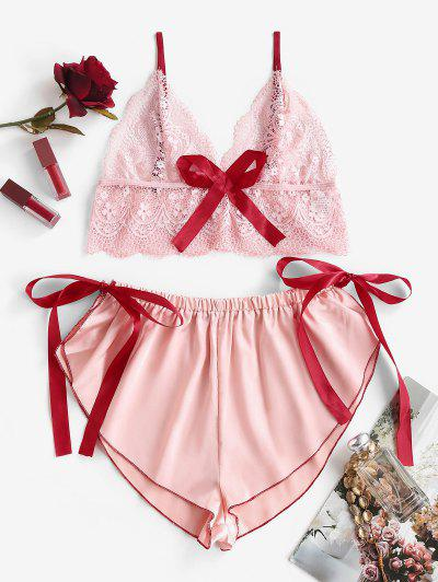 Bowknot Lace And Satin Tie Side Pajamas - Light Pink Xl