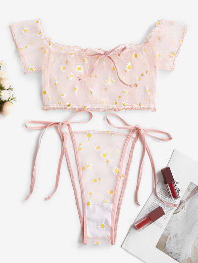 Off Shoulder Floral Sheer Mesh Tie Side Lingerie Set - Light Pink S