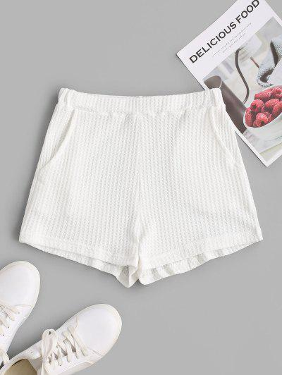 High Waisted Textured Pockets Knitted Shorts - White S