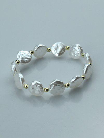 Perlen Unregelmäßige Runde Künstliche Perle Armband - Weiß