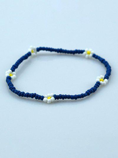 Bohemian Beaded Flower Elastic Bracelet - Deep Blue
