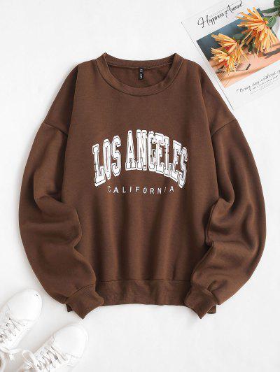 Flocking Lined Los Angeles Print Drop Shoulder Sweatshirt - Coffee M