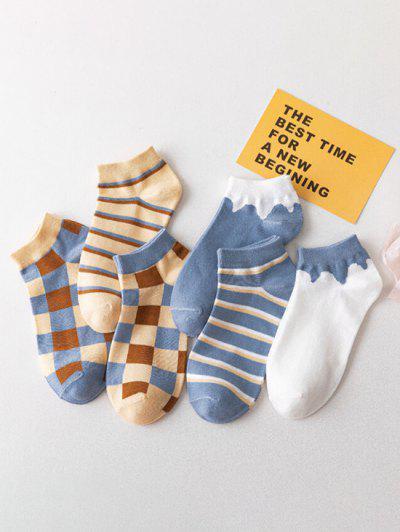 6 Paar Farbblock Karierte Knöchel Socken Set - Multi-h