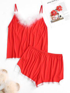 zaful Feather Trim Lace Insert Cami Pajama Shorts Set