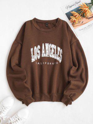 zaful Flocking Lined Los Angeles Print Drop Shoulder Sweatshirt