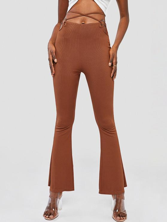 shop Ribbed O Ring Midriff Flossing Flare Pants - DEEP COFFEE L