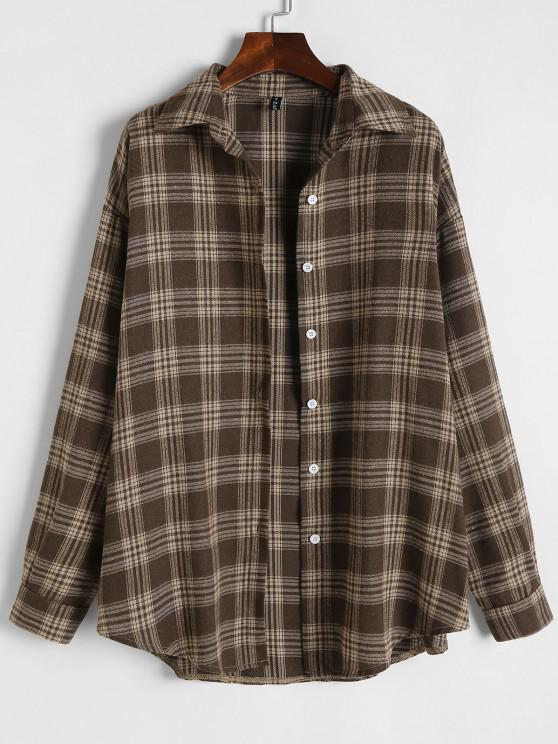 new Plaid Flannel Loose Drop Shoulder Shacket - COFFEE S