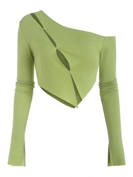 fancy Asymmetrical Split Sleeve Cutout Slim Tee - LIGHT GREEN S