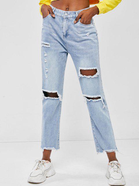 Neu Auffällig Scharf Präzision Hem Boyfriend Jeans - Hellblau L Mobile