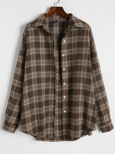 Plaid Flannel Loose Drop Shoulder Shacket - Coffee M