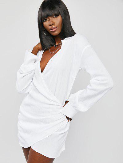 Robe Superposée Drapée à Goutte Epaule - Blanc M