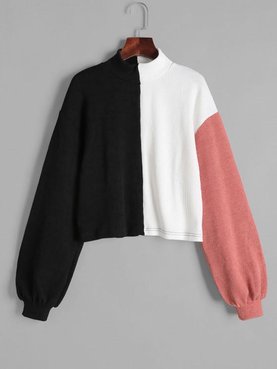 Kontrast Farbblock Pullover mit Hohem Ausschnitt - Schwarz S