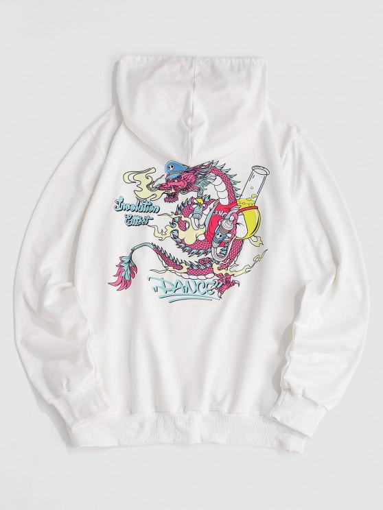 ZAFUL Dance Funny Dragon Print Hoodie - أبيض S