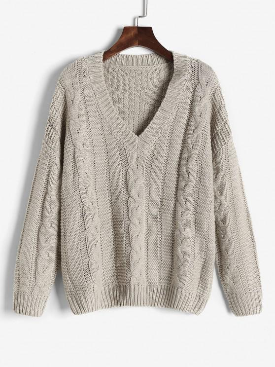 Cable Knit Slouchy Chunky Pullover - Licht Kaffee S