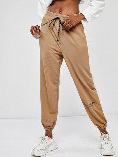 ZAFUL High Rise Tie Waist Ribbed Jogger Pants - Coffee S
