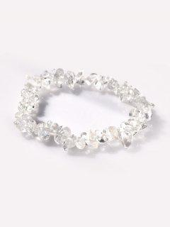 Irregular-Shaped Stone Beaded Elastic Bracelet - Multi-a