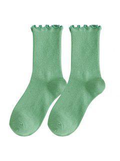 Lettuce Trim Ribbed Cotton Crew Socks - Cyan Opaque