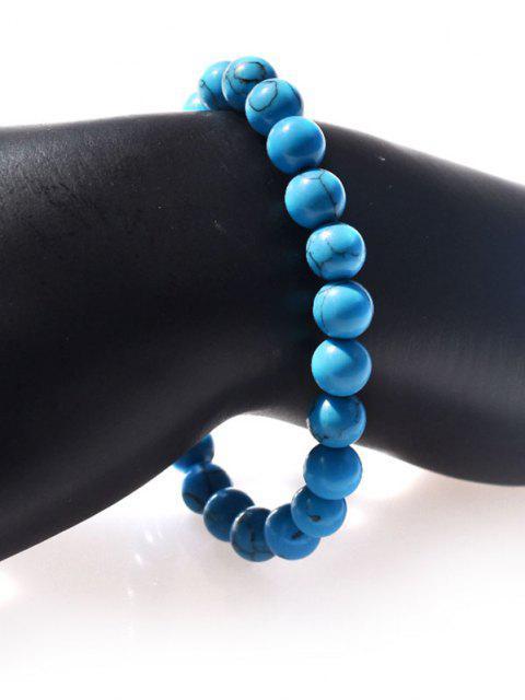 Einfarbige Türkis Perlen Elastisches Armband - Blau  Mobile