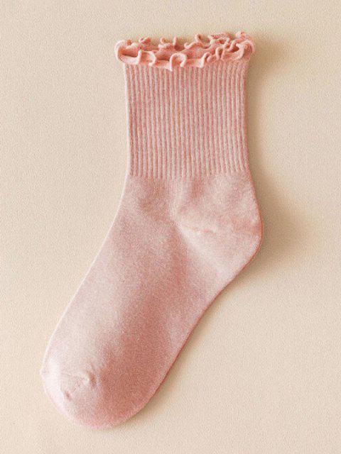 Einfarbige Kopfsalat Trim Gerippter Baumwollsocken - Helles Rosa  Mobile