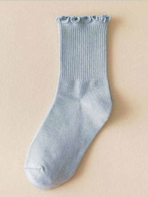 Gerippte Socken aus Baumwolle mit Kopfsalatbesatz - Blaugrau  Mobile