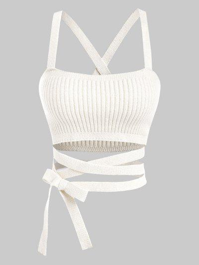 Midriff Flossing Knitted Crop Tank Top - White S