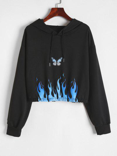 Flame Butterfly Graphic Hoodie - Black S