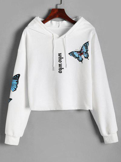 Drop Shoulder Who Butterfly Print Hoodie - White Xl
