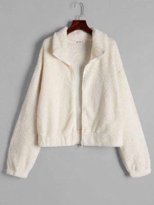zaful Fluffy Drop Shoulder Zip Up Jacket