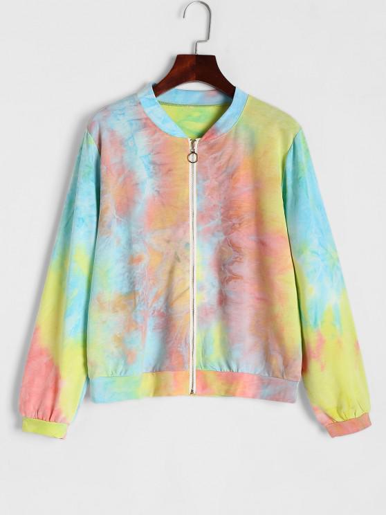 lady Pastel Tie Dye Zip Up Sweatshirt - MULTI S