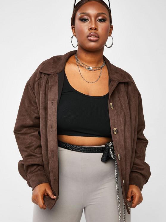 sale ZAFUL Plus Size Button Up Faux Suede Jacket - DEEP COFFEE 4XL