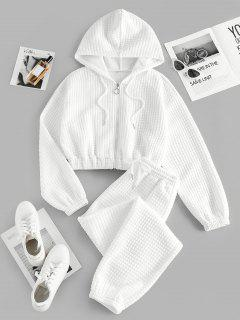 ZAFUL Textured Quilted-style Lounge Hoodie And Jogger Pants Set - White M