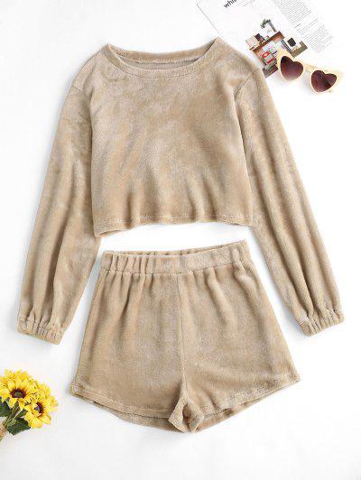 Fluffy Crop Sweatshirt And Two Piece Shorts Set - Light Coffee M