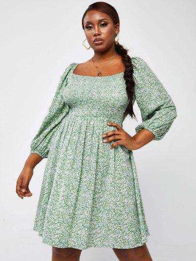 ZAFUL Plus Size Floral Smocked Nap Dress - Light Green L