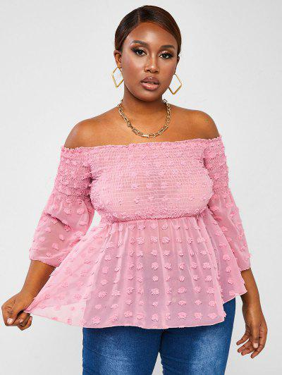 ZAFUL Plus Size Off Shoulder Smocked Flared Sleeve Blouse - Light Pink Xl